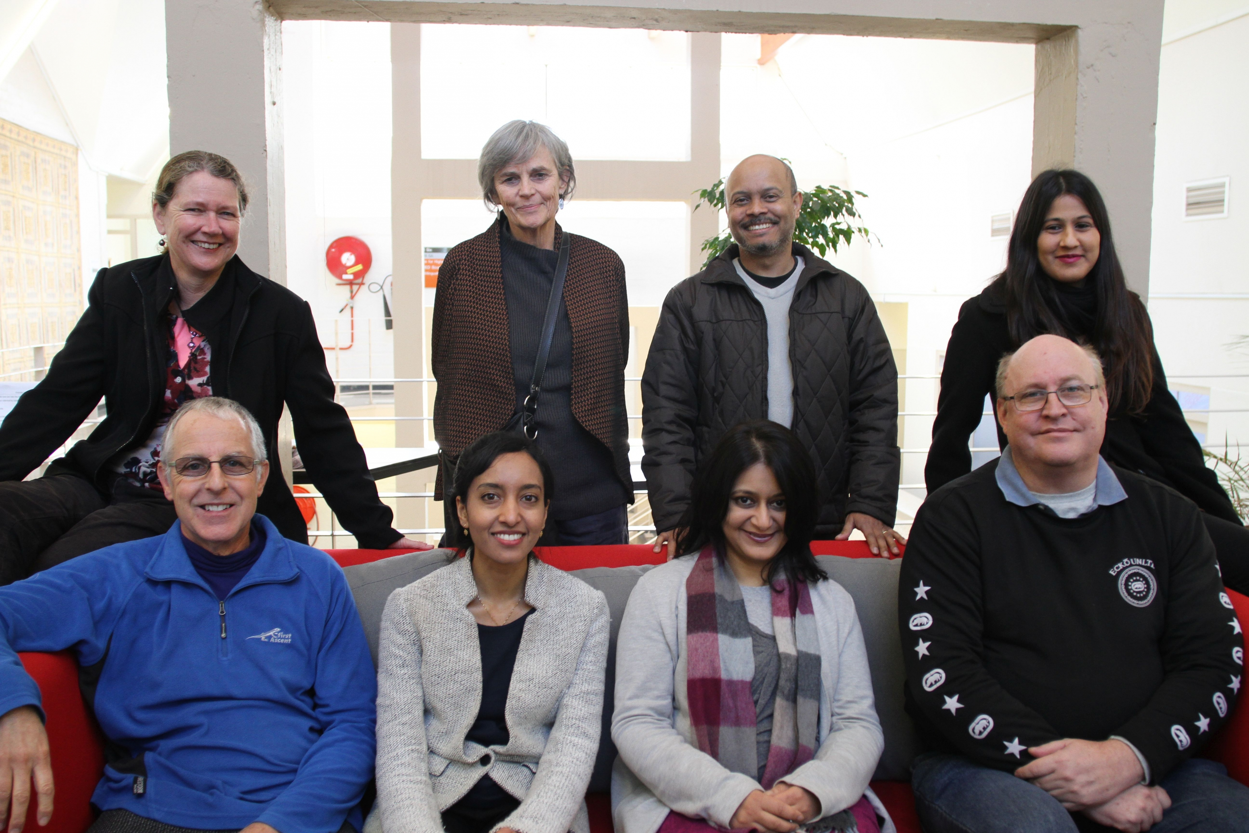 Back (left to right): Janet Small, Lucia Thesen, Gideon Nomdo, Tasneem Jaffer. Front (left to right): Jeff Jawitz, Aditi Hunma, Sukaina Walji, Andrew Deacon