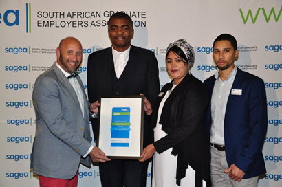 David Casey of UCT Careers Service with Loyiso Gola (MC), Nawaal Boolay and Hishamodien Hoosain, also of UCT